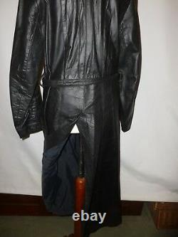 Vintage British Made Black Real Leather Trench Coat Fits Size Uk 10/12