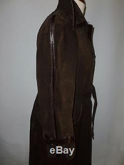 Vintage Fenwick Bond Street London Suede & Leather Coat Fits Size Uk 14