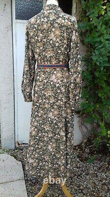 Vintage Laura Ashley Maxi Dress Fit & Flare Button Thru Viscose Wool 12/14 VGC