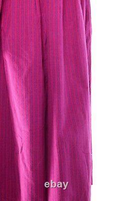 Vintage Laura Ashley Needlecord Magenta Pink Fit & Flare Maxi Smock Dress UK 12