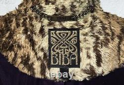 Vintage Style BIBA Cheeter Skin Faux Fur Size 12 Stylish Fitted Full Length Coat