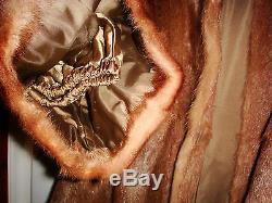 Vintage genuine fur brown full length longline coat size 14 / 16 fit