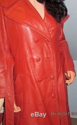 Vintage1970sButterscotchLeatherFull LengthFittedCoatLeather craftSZ LXL