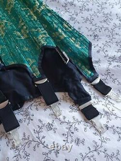 Vollers Hourglass Steel Boned Silk Corset Green 30 inch (fit waist up to 36)