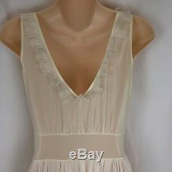 Vtg 50s 60s Uktra Sheer Full Length Ivory Nightgown Ruffles Fits Modern Small