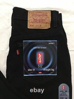 Vtg Levis 512 Womens 6 Short Slim Fit Straight Leg High Waist Mom Jeans Black