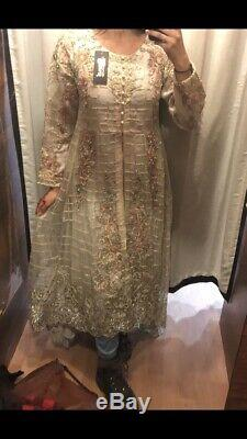 White and Pink Heavy Embroidered Anarkali Wedding Long Sleeve, Will Fit Size 6-8