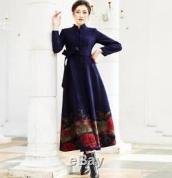 Winter 100% Cashmere Thicken Slim Fit Hot Floral Stand Collar Full Length Coats