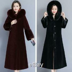 Winter Women Full Length Cashmere Fur Collar Hooded Outwear Jacket Slim Fit Coat