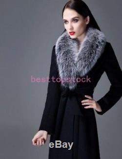 Women 100% Real Fox Fur Collar Wool Full length Coat Waistband Slim Fit outwear