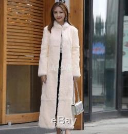 Women 100% Real Rabbit Fur Long Coat Winter Outwear Warm Slim Fit Full Length sz