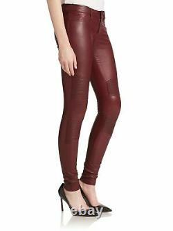 Women Burgundy Real Leather Trousers Skinny Lambskin Pants Slim fit Leggings