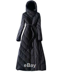 Women Full Length Hooded Down Coat Slim Fit Belt Outdoor Parka Warm Outwear Chic