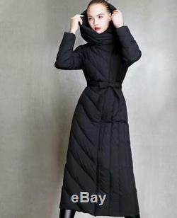 Women Full Length Hooded Down Coat Slim Fit Belt Outdoor Parka Warm Outwear Hot