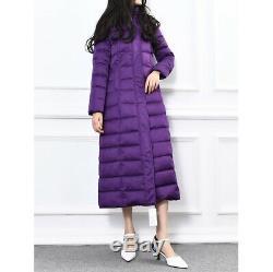 Women Full Length Jacket Winter Puffer Duck Down Coat Hooded Long Slim Fit Parka