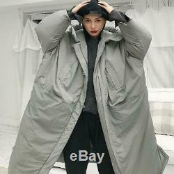 Women Hooded Cotton Down Full Length Coat Winter Loose Fit Men Thick Warm Parka