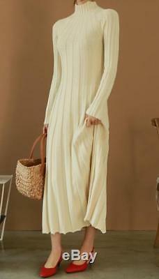 Women Slim Fit High Neck Long Sleeves Full Length Knitted Sweater Dress Blouses