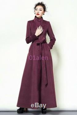 Women Slim Fit Stand Collar Full Length Trench Coat Single Breasted Cashmere New