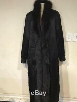 Women's Church Xmas Winter Black fox tuxedo100% Leather Coat Jacket tag L&fit XL