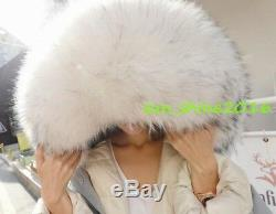 Women's Thicken Full length Racoon Fur Collar Hooded Loose Fit Down Coat Jacket