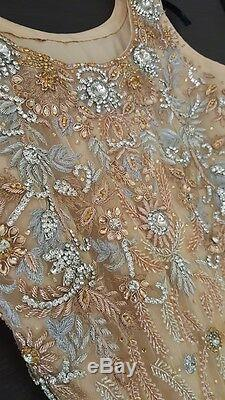 Womens Fitted Size 8 Gold and Silver Womens Bridal Wedding Reception Prom Dress