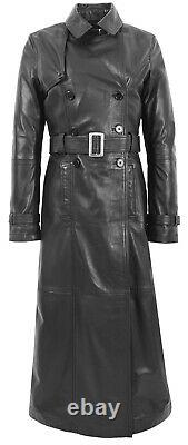Womens Full Length Black Leather Trench Coat Slim Fit Ankle Long Length Sharon
