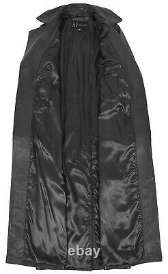 Womens Full Length Long Black Leather Coat Ankle Length Trench Overcoat Trinity