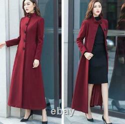 Womens Full Length Wool Blend Outwear Stand Collar Trench Coat Slim Fit Warm New