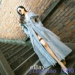 Womens Full Length Woolen Cloth Cardigan Retro Fashion Fur Joint Slim Fit New