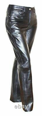 Womens Genuine Soft Black Leather Trouser Slim Fit Tapered Casual Leather Jeans