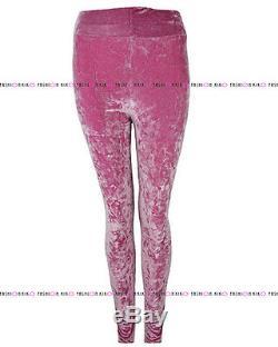 Womens Ladies Crushed Velour Velvet Skinny Fit Stretch Leggings Trousers Bottoms
