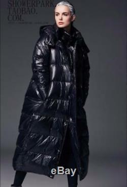 Womens Lunury 90% Duck Down Full Length Loose Fit Black Hooded Coat Plus Sz New