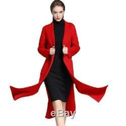 Womens Slim Fit 100% Real Wool Cashmere Jacket Full Length Slit Trench Coat New