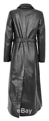 Womens Soft Black Leather Full Length Coat Ankle Long Overcoat Matrix Trench NEW