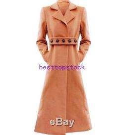 Womens Warm Full Length Wool Blazer Collar Slim Fit Outwear Parka Coat JacketS