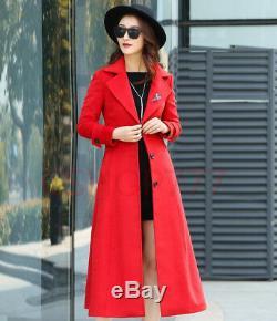 Womens full length slim fit lapel single breasted grace wool belnd coat jackets