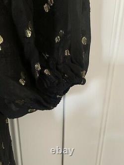 Wyse London Black & Gold Gayle Lurex Spot Dress Size 1 Fits Uk 10