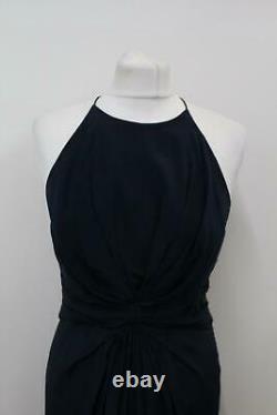 ZIMMERMANN Ladies Navy Blue Silk Pleated High Neck Ballgown Dress Size 2 UK12