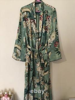 Zara Green Silk Oriental Floral Print Robe Kimono Bloggers Fav Uk L Fits 14 16
