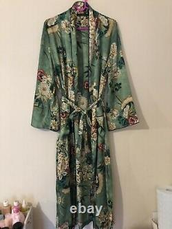 Zara Green Silk Oriental Floral Print Robe Kimono Bloggers Fav Uk M Fit 12 14 16