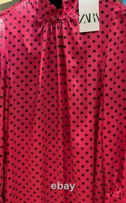 Zara Long Dress Loose Fitting Printed Belted Satin Maxi Dress Size Large New
