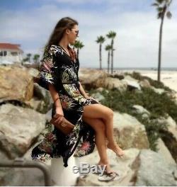 Zara Long Loose Fit Black Floral Print Maxi Dress With Slits Kaftan Coat M
