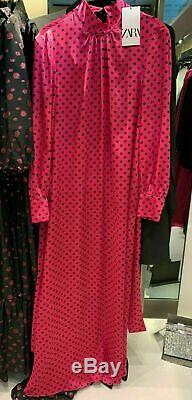 Zara Long Loose Fitting Printed Belted Satin Maxi Dress Size L Large New
