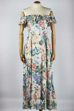 Zimmermann Verity Ruffled Floral Print Linen Maxi Dress Uk 14