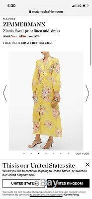 Zimmermann Zinnia Button Down Long Dress, Linen, Size U. K. 10 Can Fit 8